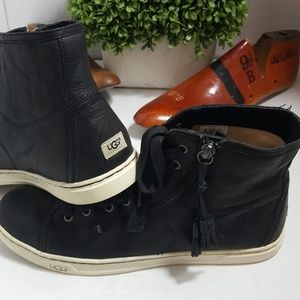 Ugg Blaney black leather high top sneaker tassels